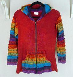 Greater Good Rainbow Sun Hoodie Sz S Medium Zip Sweatshirt Misses Pocket #GreaterGood #Hoodie