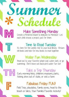 How to have a Fun Summer: weekly schedule for Las Vegas, Henderson, North Las Vegas and all of southern Nevada. Recommended by Jill Paige Homes, Las Vegas, NV. fun Tons of Summer Activities for Kids - Joyfully Prudent Summer Activities For Kids, Family Activities, Toddler Activities, Indoor Activities, Outside Activities For Kids, Preschool Family, Summer Camp Themes, Summer Games, Indoor Games