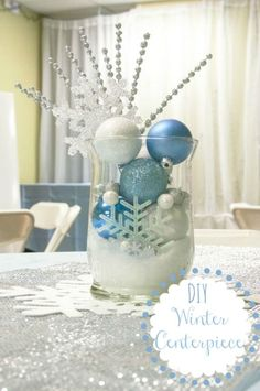 Diy Winter Centerpiece Change Out the Blue for Red and Green and It : Winter Decor Ideas Office Holiday Party, Office Christmas, Silver Christmas, Disney Christmas, Christmas Holidays, Christmas Crafts, Frozen Christmas, Santa Christmas, Winter Centerpieces