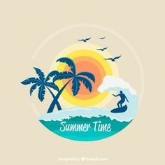 Fondo de surf con palmeras y sol