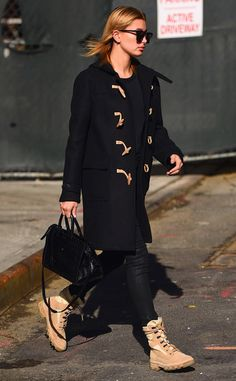 Cold Weather Ready from Hailey Baldwin's Street Style  The model isn't letting the cold get in the way of her style with this black and tan outfit.