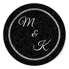 Wedding Stickers Personalized Monogram - glitter glamour brilliance sparkle design idea diy elegant