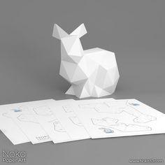 Conejo modelo de papercraft 3D. Plantilla por NokaPaperArt en Etsy