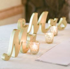 Champagne Mr and Mrs Wedding Signs for Sweetheart Table by ZCreateDesign