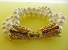 Vintage Art Deco Glass Pearl Multi Strand Bracelet by RAKcreations