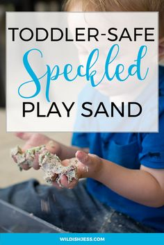 I played around with food coloring and different base ingredients to come up with our very own toddler-safe speckled play sand. Activities For 2 Year Olds, Rainy Day Activities, Sensory Activities, Infant Activities, Sensory Play, Toddler Meme, Toddler Fun, Toddler Preschool, Natural Parenting