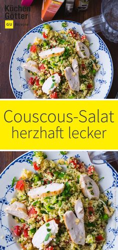 Today we make couscous salad with juicy # chicken breast fillet and lots of colorful # vegetables. PREPARE NOW QUICKLY: Couscous-Salat mit Hähnchen Vegetarian Recipes Dinner, Healthy Chicken Recipes, Healthy Dinner Recipes, Chicken Couscous Salad, Making Couscous, Chicken Breast Fillet, Grilling Recipes, Salad Recipes, Colorful Vegetables