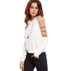 SheIn Tracksuit Woman's Fashion Fall 2016 Kawaii Sweatshirt White Ladder Cut Out Long Sleeve Embroidered Sweatshirt aliexpress.com