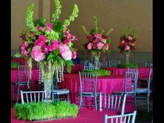 Bright Pinks and Greens Wedding Centerpieces. Wheat Grass Base   KarrieHlistaDesigns.Com