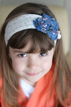 Double Blue Flower Headband by letterbdesigns on Etsy, $16.00