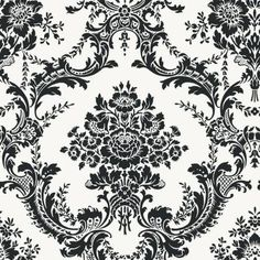 The Wallpaper Company 56 sq. ft. Black and White Mid Scale Damask Wallpaper - WC1283370 at The Home Depot