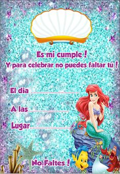 Mermaid Theme Birthday, Little Mermaid Birthday, The Little Mermaid, Mermaid Invitations, Ideas Para Fiestas, Ariel, Princess Peach, Origami, Birthday Parties