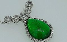 9.5 CT Green Emerald Necklace 14k White Gold And 2.85 SI1 G Diamond