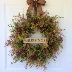 Autumn Wreaths-Fall Wreaths-Blessings Wreath-Eucalyptus Wreath-Wooden Signs-Fall Decor-Hostess Gift-Thanksgiving Wreath-Wreath by ReginasGarden on Etsy https://www.etsy.com/listing/243012390/autumn-wreaths-fall-wreaths-blessings