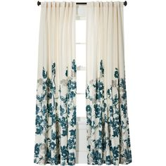 Threshold Climbing Vine Curtain Panel - Teal Blue ($24) ❤ liked on Polyvore featuring home, home decor, window treatments, curtains, curtains & drapes, teal window panel, floral curtains, teal curtain panels, target curtains and threshold window panel