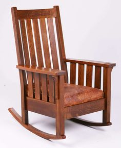 Tall Lifetime Furniture Co Slatted Rocker C1910. Excellent Original Finish  And Original Leather. Signed With Partial Paper Label.
