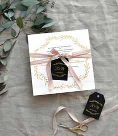 Black, White, and Gold Foil Greek Destination Wedding Invitations by Smitten on Paper / Oh So Beautiful Paper