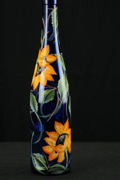 Hand Painted Tall Round Oil Bottle / Sunflowers On by ArteeVita