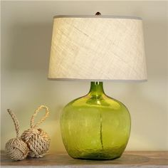 Lime Green Glass Lamp