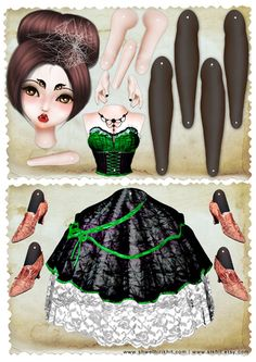 Lady Spider Paper Doll Instant Download Sugar Skull by stkhit