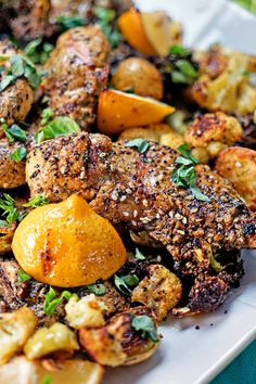 (Use 4 small sweet potatoes, cut into chunks) Turkish Grilled Chicken and Roasted Vegetables with Lemon and Basil