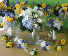 blue and yellw Flower Bouquets for Weddings | Blue, white, and yellow wedding flower bouquets for Manayunk Brewery ...