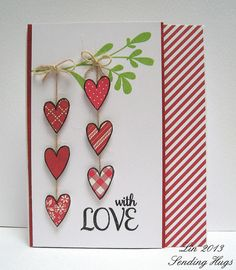 handmade Valentine card: Love Jar, for HH blog hop by quilterlin ... open heart stamped on patterned papers and cut out ... strings of hearts on tiny twine lines ... luv this card!!