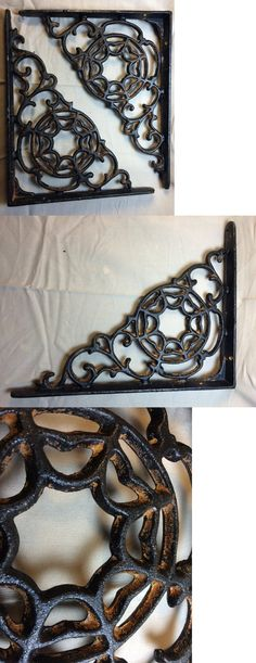 SET OF 4 CAST IRON GINGERBREAD BRACE SHELF BRACKETS antique brown patina finish