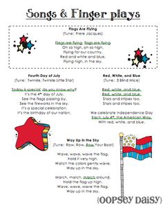 of july ideas fourth of july songs, patriotic songs for kids, patriotic poems Preschool Music, Preschool Themes, Preschool Lessons, Preschool Classroom, Kindergarten, Infant Classroom, Montessori Elementary, Elementary Music, Preschool Crafts