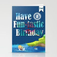 FUN•tastic Ocean B-Day Card illustrated by We~Ivy. 3, 5 or 10 Set of folded stationery cards printed on bright white, smooth card stock. Follow We~Ivy's Art BootH for more special #art #gift ideas for #holiday seasons or # birthday #party, to find great #home decors or stuff just to spoil yourself. Art Prints For Home, Presents For Friends, My Themes, Website Themes, Good Cause, Girl Birthday, Card Stock, Best Friends, Wraps