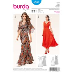 Our evening dress with draped front and flutter sleeves is perfect for a dinner date and dancing. The fitted bodice and waistband accents your figure and the paneled skirt affords plenty of leg room for dancing. A Burda Style sewing pattern.