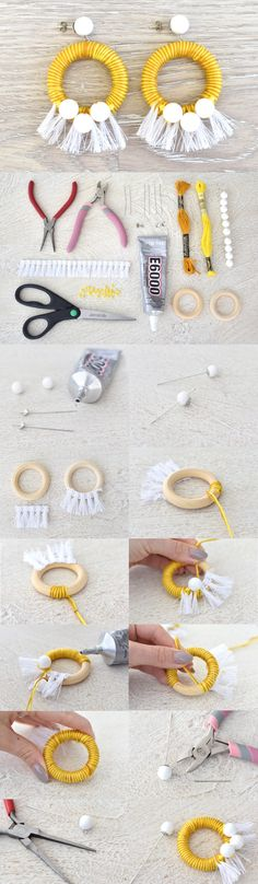 Jewelry Making DIY yellow white tassel fringe earrings, handmade jewelry tutorial - DIY Tassel Earrings Diy Tassel Earrings, Fringe Earrings, Earrings Handmade, Beaded Bracelets, Hoop Earrings, Button Earrings, Rhinestone Earrings, Leather Earrings, Denim Earrings