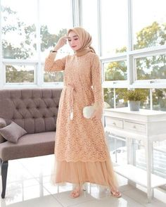 Discover recipes, home ideas, style inspiration and other ideas to try. Dress Brokat Muslim, Dress Brokat Modern, Kebaya Modern Dress, Kebaya Dress, Muslim Dress, Dress Brukat, Hijab Dress Party, Hijab Style Dress, Dress Outfits