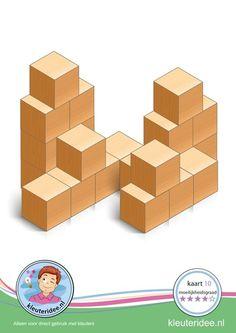 Bouwkaart 10 moeilijkheidsgraad 4 voor kleuters, kleuteridee, Preschool card building blocks with toddlers 10, difficulty 4, free printable.