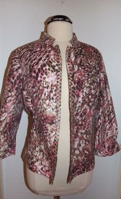 Chicos Pink Off White Linen Open Jacket Embellished Embroidered 3/4 Sleeve 2 M L #Chicos #BasicJacket