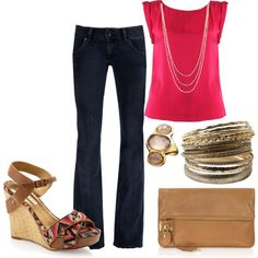 touch of tribal., created by beckyking on Polyvore featuring the Stella & Dot - Libby Layering Necklace