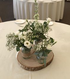 Wedding Table Centerpieces, Centrepieces, Table Decorations, Jam Jar Wedding, Wedding Reception, Wedding Ideas, Summer Wedding Colors, Floral Arrangements, Jars