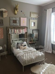 Little girl bedroom! Cute ikea toddler bed that can stretch and be a normal twin size bed.