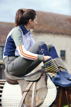 Horseware Polo S/S14: Cheri long sleeve polo / Elise ladies breeches / Show socks / Wellies