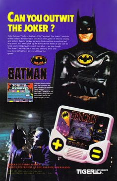 Can You Outwit The Joker? a 1989 Batman movie handheld game ad from Tiger Electronics. Scan from tOkKa