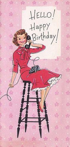 40 Ideas for birthday ilustration girl vintage postcards Happy Birthday Messages, Happy Birthday Quotes, Happy Birthday Images, Happy Birthday Greetings, Birthday Pictures, Birthday Fun, Card Birthday, Birthday Ideas, Happy Birthday Woman