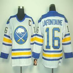NHL Buffalo Sabres CCM Jersey #16 Pat Lafontaine White Vintage Jersey C Patch