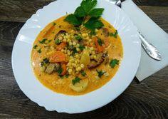 Betyár tarhonya leves recept foto Thai Red Curry, Ethnic Recipes, Food, Essen, Meals, Yemek, Eten