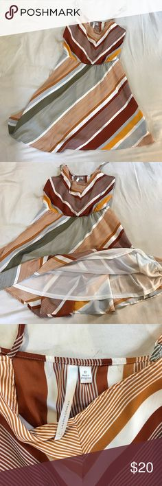 """Lauren Conrad stripe sundress LC Lauren Conrad stripe sundress, so perfect for summer! Falls just above the knee on me, I'm 5'6"""". Like new condition, no flaws. All offers considered, Bundle and save! LC Lauren Conrad Dresses Midi"""