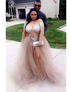 2016 Custom Charming Tulle Long Sleeves Prom Dress,Shining Beading Evening Dress,Sexy See Through Prom Dress