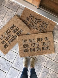 DIY Doormats with Cricut and Stencil Vinyl. Click to read the how-to.