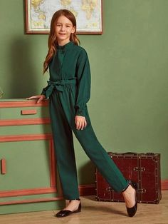Girls Solid Buttoned Front Self Belted Jumpsuit - Girls Solid Buttoned Front Self Belted Jumpsuit Source by - Belted Shirt Dress, Tee Dress, Baby Girl Dress Patterns, Jumpsuits For Girls, Overall, Types Of Sleeves, Look, Kids Outfits, Kids Fashion