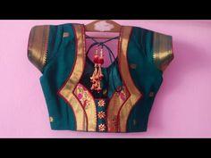 Paithani saree designer kath work back neck blouse| cutting and stitching back neck. - YouTube Patch Work Blouse Designs, Simple Blouse Designs, Stylish Blouse Design, Saree Blouse Neck Designs, Sari Blouse, Blouse Patterns, Dress Sewing, Sewing Diy, Diy Dress