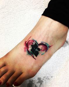 Harley Quinn watercolor tattoo
