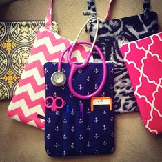 Nursing purse; holds stethoscope, pens, etc. In pink chevron or gray chevron with name